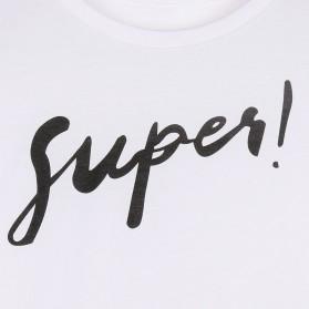 Kaos Katun Wanita Super Logo Short Sleeve O Neck Size L / T-Shirt - White - 6