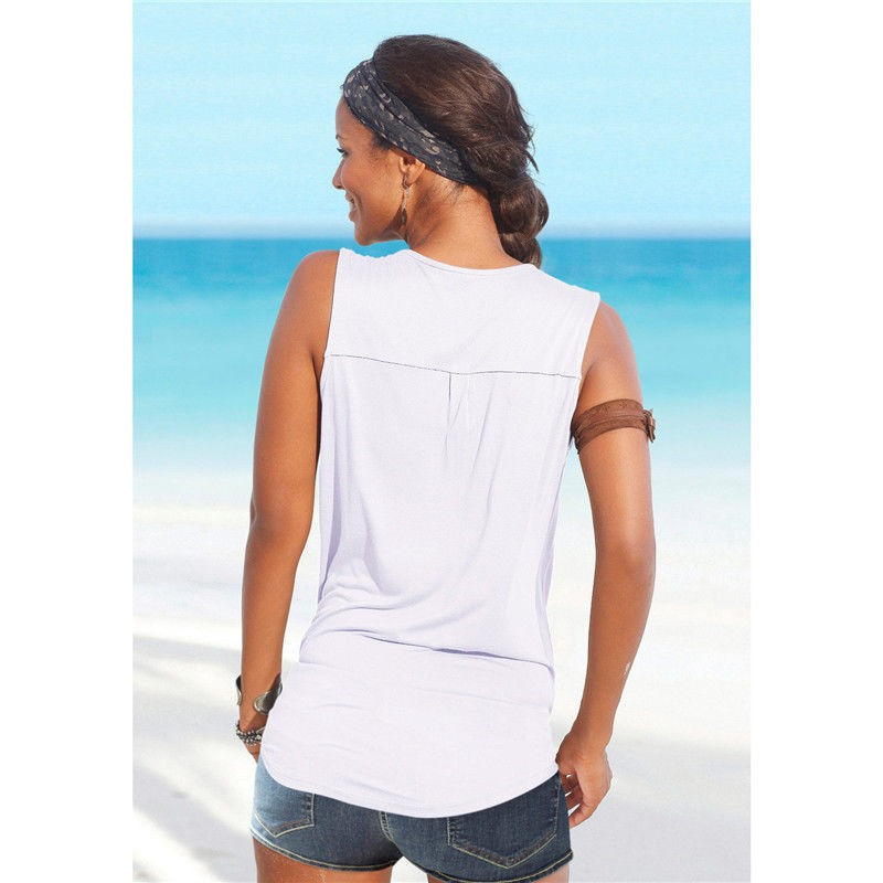 ... Baju Pantai Wanita Sleeveless V Neck Beach Shirt Size M - White - 3 ...