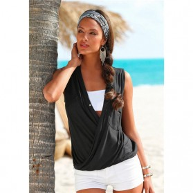 Baju Pantai Wanita Sleeveless V Neck Beach Shirt Size L - Black