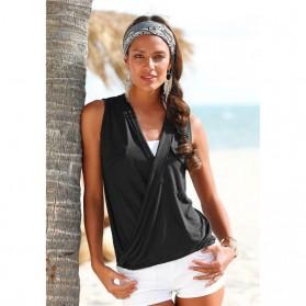 Baju Pantai Wanita Sleeveless V Neck Beach Shirt Size L - Black - 2