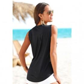 Baju Pantai Wanita Sleeveless V Neck Beach Shirt Size L - Black - 3