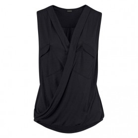 Baju Pantai Wanita Sleeveless V Neck Beach Shirt Size L - Black - 4
