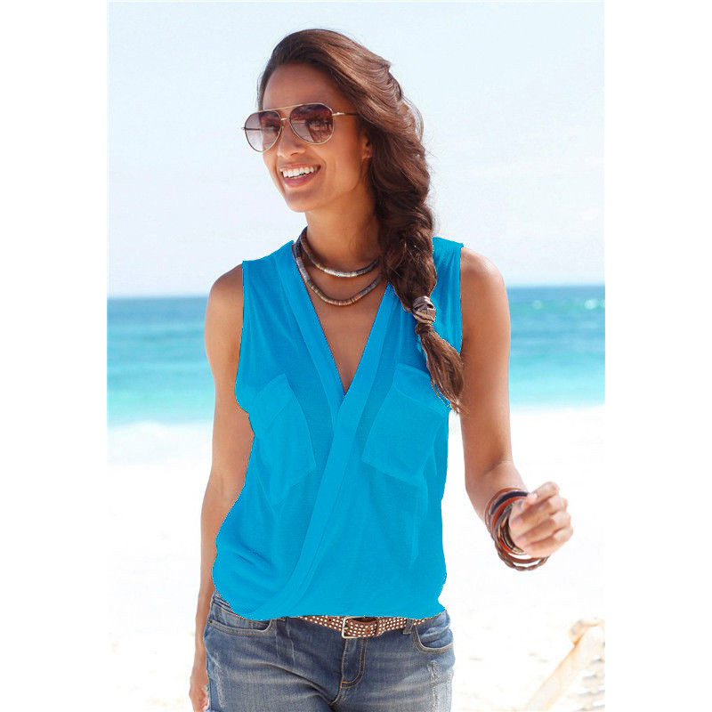 ... Baju Pantai Wanita Sleeveless V Neck Beach Shirt Size L - Blue - 1 ...