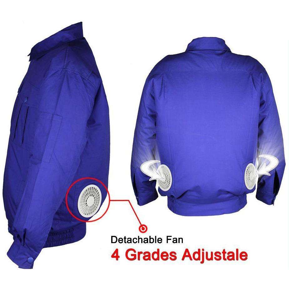 Jaket Ac Kipas Pendingin Cooling Fan Air Conditioner Summer Jacket Sarung Helm Anti Size Xl Blue