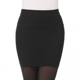 Rok Mini Wanita Slim Hip Skirt All Size - Black