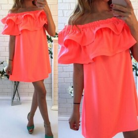 Dress Wanita Sabrina Ruffles Slash Neck Dress Size S - Orange