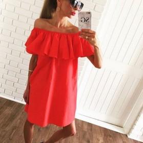 Dress Wanita Sabrina Ruffles Slash Neck Dress Size S - Orange - 2