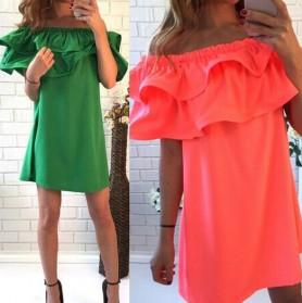Dress Wanita Sabrina Ruffles Slash Neck Dress Size S - Orange - 3