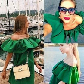 Dress Wanita Sabrina Ruffles Slash Neck Dress Size S - Orange - 4