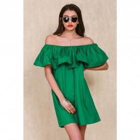 Dress Wanita Sabrina Ruffles Slash Neck Dress Size S - Green
