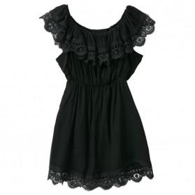 Dress Wanita Casual Slash Neck Dress Size S - Black
