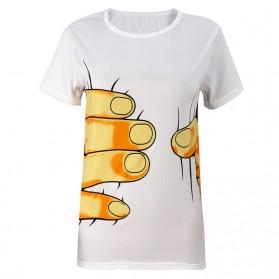 Kaos Katun Pria Funny Hand O Neck Size M - White