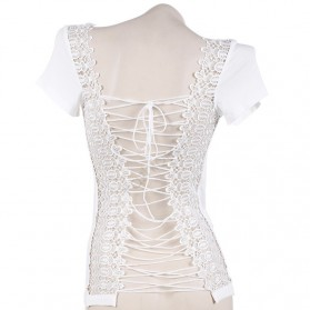 Kaos Katun Sexy Wanita Hollow Backless Lace Shirt Size M / T-Shirt - White