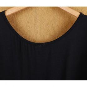 Kaos Katun Sexy Wanita Hollow Backless Lace Shirt Size L / T-Shirt - Black - 5