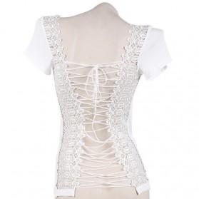 Kaos Katun Sexy Wanita Hollow Backless Lace Shirt Size L / T-Shirt - White