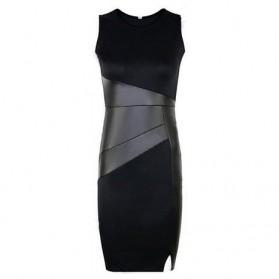 Betti Charm Sexy Bodyfit Dress Wanita Slim Fuax Leather Size S - Black