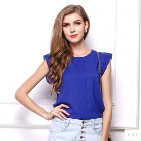 Blouse Wanita Loose Chiffon Size S - Blue - 1