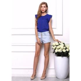 Blouse Wanita Loose Chiffon Size S - Blue - 2