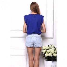 Blouse Wanita Loose Chiffon Size S - Blue - 3