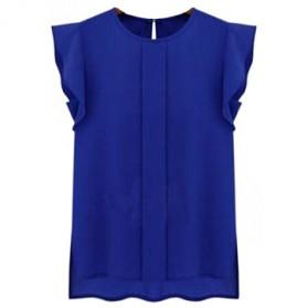 Blouse Wanita Loose Chiffon Size S - Blue - 4