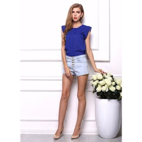 Blouse Wanita Loose Chiffon Size M - Blue - 2