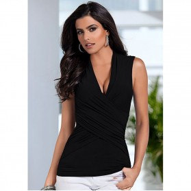 Kaos Sexy Slim Wanita Sleeveless Top Size M / T-Shirt - Black