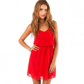 Dress Wanita Casual Summer Style Size M - Red