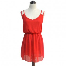 Dress Wanita Casual Summer Style Size S - Red - 2