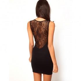 Sexy Bodyfit Dress Wanita Slim Europe Night Style Size M - Black - 3