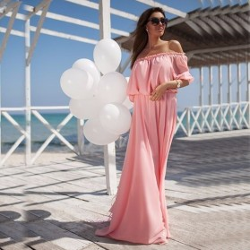 Dress Wanita Sabrina Shoulder Off Elegant Chiffon Size L - Pink