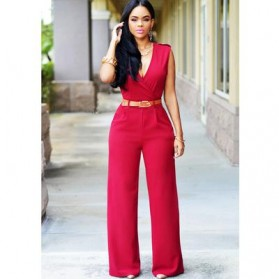 Baju Jumpsuit Wanita Sexy Rompers V-Neck Size M - Red