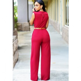 Baju Jumpsuit Wanita Sexy Rompers V-Neck Size M - Red - 2