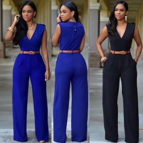 Baju Jumpsuit Wanita Sexy Rompers V-Neck Size M - Red - 3