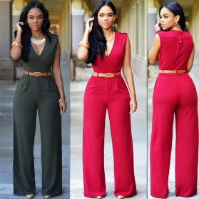 Baju Jumpsuit Wanita Sexy Rompers V-Neck Size M - Red - 4