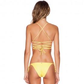 Bikini Wanita Motif Floral Size S - Yellow - 2