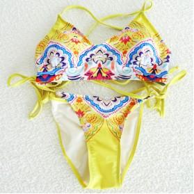 Bikini Wanita Motif Floral Size S - Yellow - 4