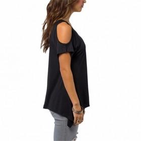 Kaos Katun Wanita Strapless V Neck Size S / T-Shirt - Black - 2