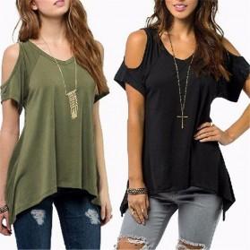 Kaos Katun Wanita Strapless V Neck Size S / T-Shirt - Black - 3