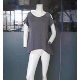Kaos Katun Wanita Strapless V Neck Size S / T-Shirt - Black - 5