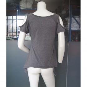 Kaos Katun Wanita Strapless V Neck Size S / T-Shirt - Black - 6