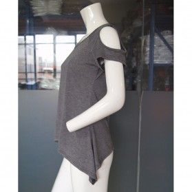 Kaos Katun Wanita Strapless V Neck Size S / T-Shirt - Black - 7