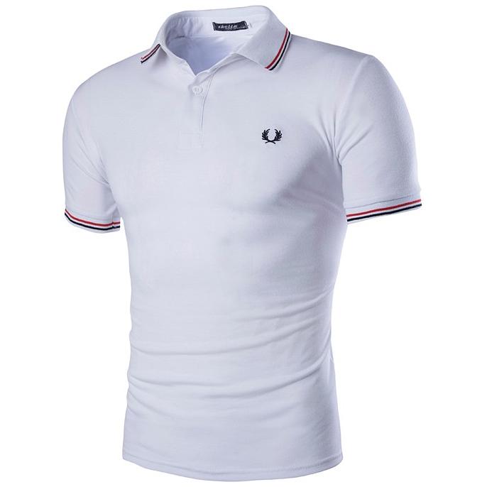 Kaos Polo Shirt Pria Short Sleeve T Shirt Size L White