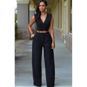 Baju Jumpsuit Wanita Sexy Rompers V-Neck Size S - Black