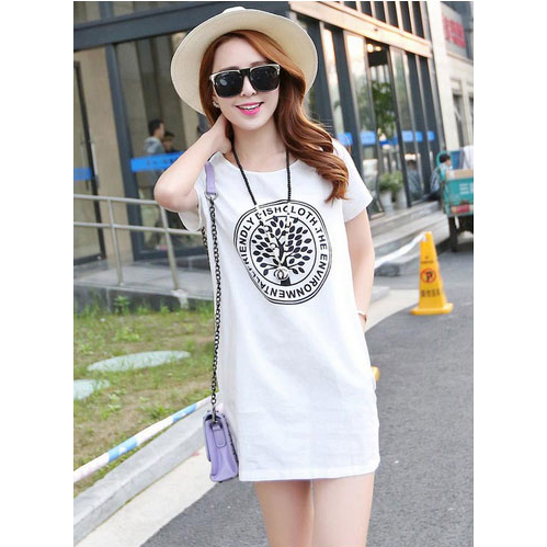 Dress Casual Wanita Korean Slim O Neck Size S - White - JakartaNotebook.com