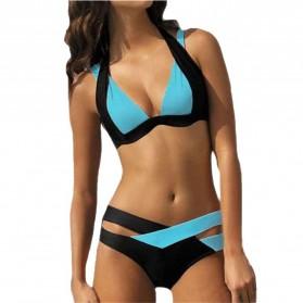 Bikini Baju Renang Wanita Push Up Cross Swimsuits Size S - Blue