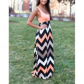 Dress Wanita Motif Wave Sleeveless Dress Size S - Pink - 2