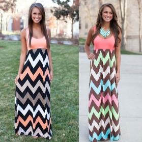 Dress Wanita Motif Wave Sleeveless Dress Size S - Pink - 3