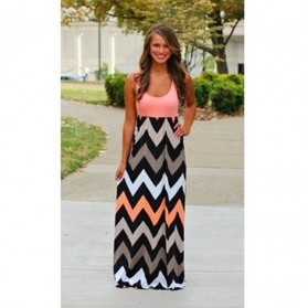 Dress Wanita Motif Wave Sleeveless Dress Size M - Pink