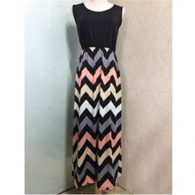 Dress Wanita Motif Wave Sleeveless Dress Size M - Black