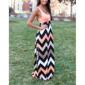 Dress Wanita Motif Wave Sleeveless Dress Size L - Pink - 2
